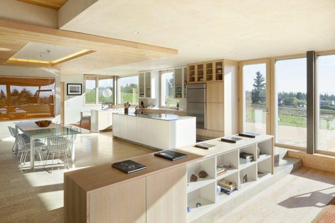 Кухня-гостиная в бежевых цветах