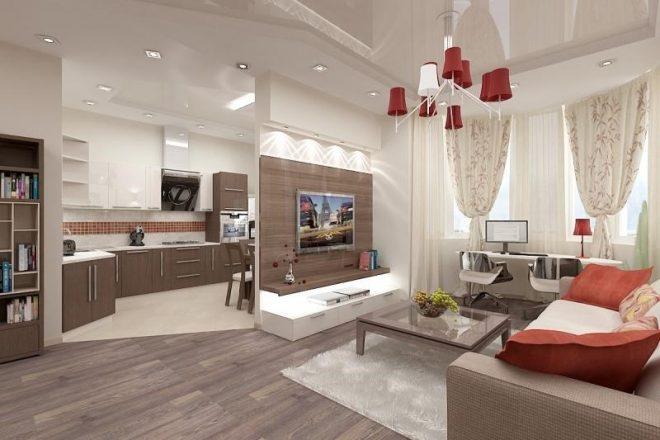Сочетание белого цвета и дерева кухни-гостиной