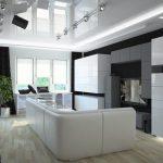 Окна кухни-гостиной в хайтек стиле