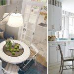 Маленький стол в белой кухне