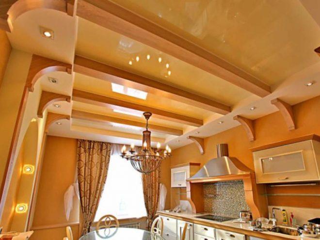 Многоуровневый кухонный потолок