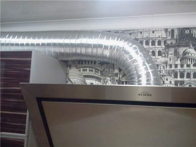 Монтаж круглой гофрированной трубы для вытяжки на кухне
