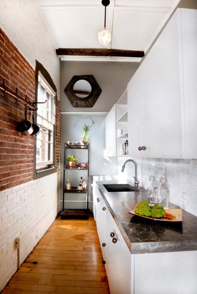 Однорядное расположение мебели на кухне