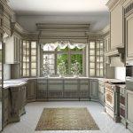 П-образное расположение мебели на кухне