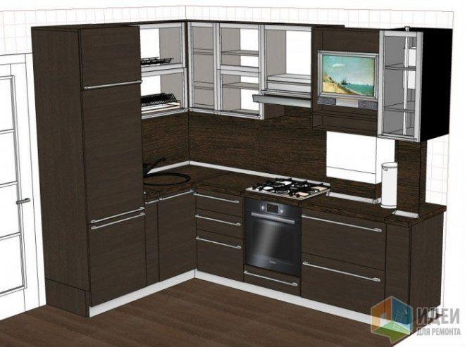 Расположение плиты, холодильника и мойки на кухне