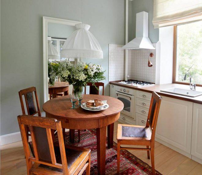 Расстояние между столом до мебели на маленькой кухне