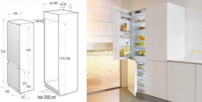 Выбор размера встроенного холодильника