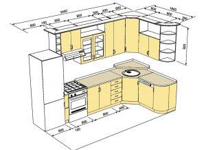 Чертеж угловой кухни