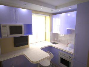 Дизайн кухни маленького размера в стиле Хай-Тек