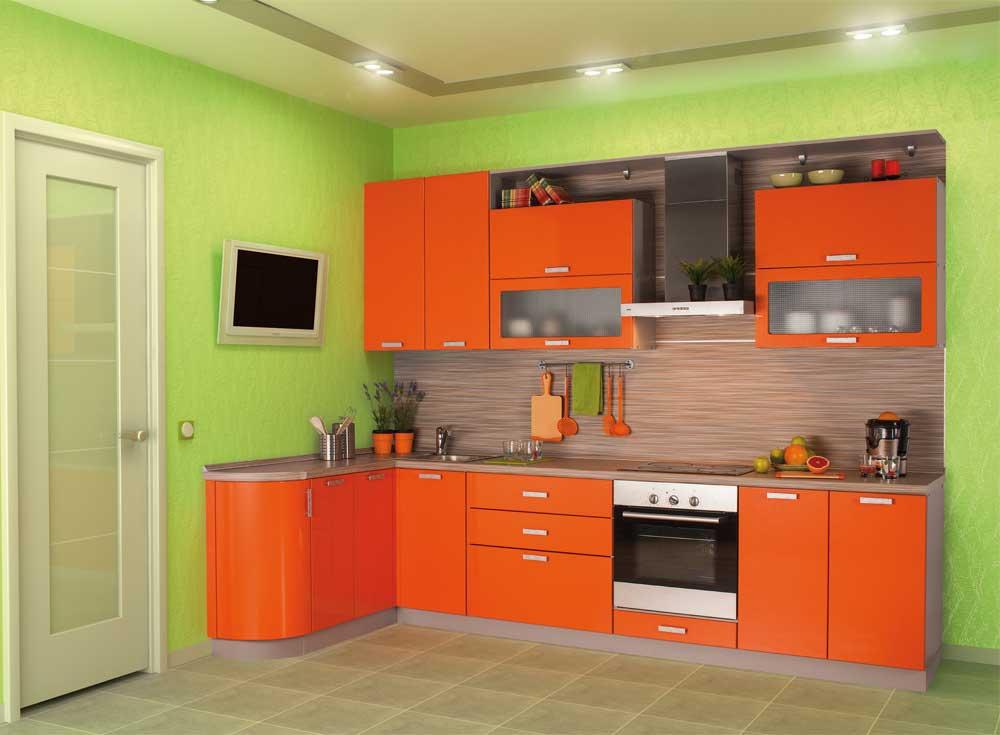 дизайн кухни оранжевой кухни фото