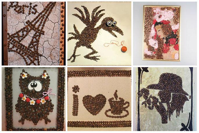 Рисунки из кофейных зерен своими руками фото 160