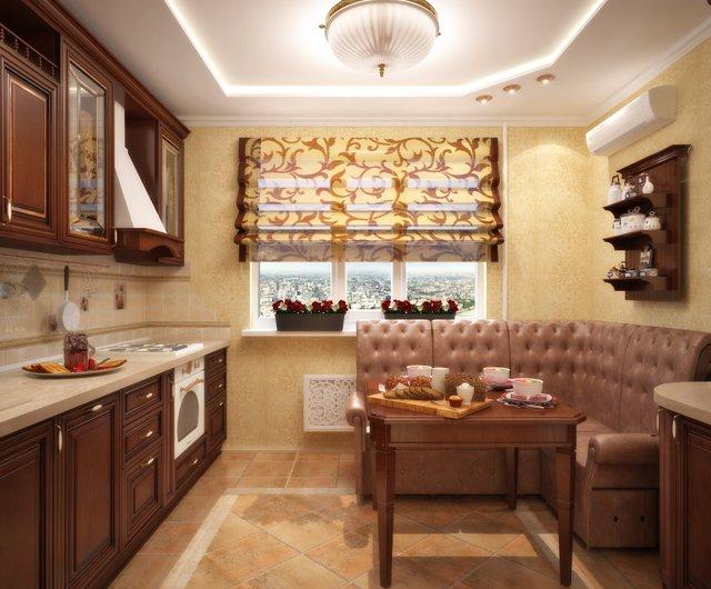 Интерьер кухонь с мягкими уголками