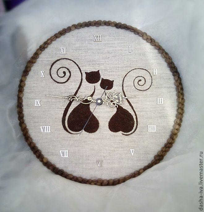 Панно кошек из кофе