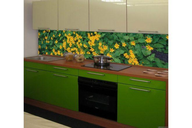 Пластиковый кухонный фартук с растительностью