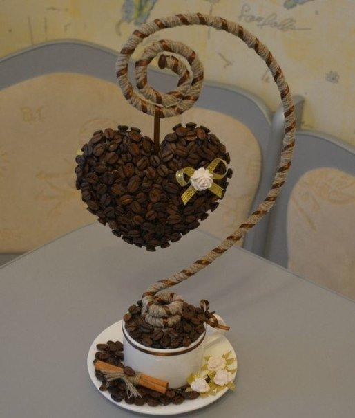 Сердце из кофейных зёрен