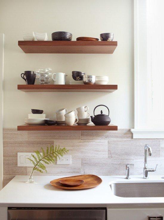 Скрытое крепление полок на кухне