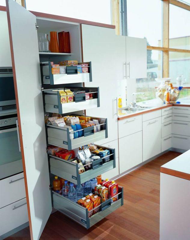 Современные системы хранения на маленькой кухне