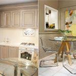 Стекляная столешница в маленькой кухне