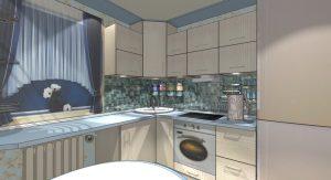 Кухня 6 метров планировка с холодильником