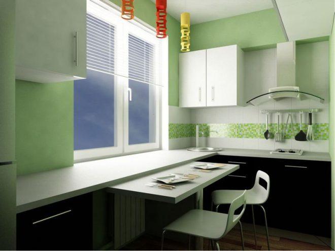 Светло-зеленая кухонька