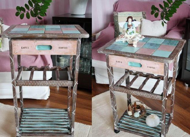 Декорирование плиткой старой мебели