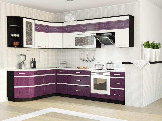 Фиолетовая модульная кухня