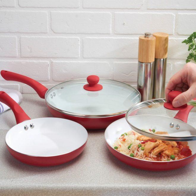 Сковородки разных диаметров с керамическим покрытием