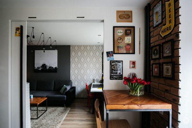 Кухня-бар 7 кв.м в коричневом и желтом оттенках