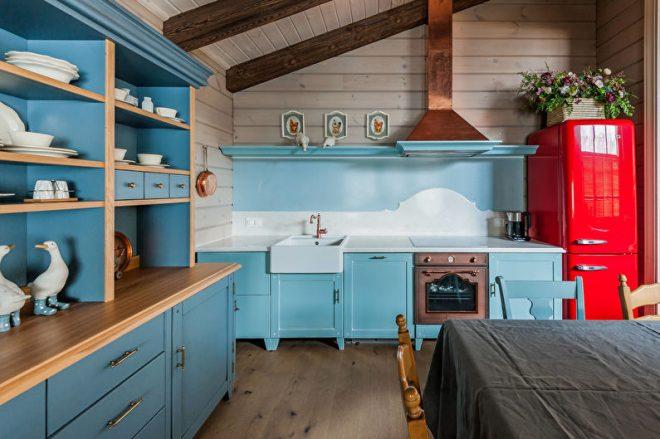 Бирюзовая кухня в скандинавском стиле