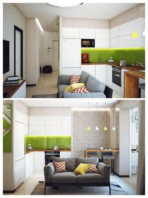 Интерьер кухни-гостиной 13 кв.м