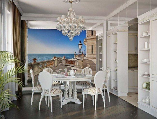 Фотообои на белой кухне прованс