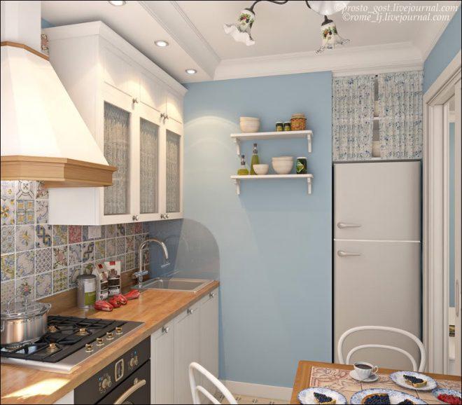 Дизайн небольшой белой с холодильником кухни в хрущевке