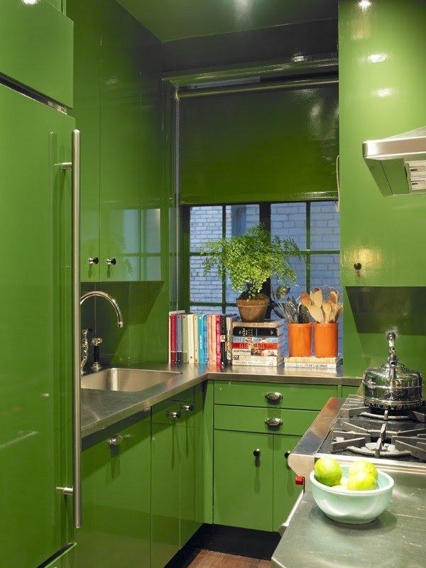 Зеленый П-образный гарнитур