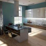 Дизайн-проект белой кухни-гостиной с островом