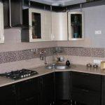 Дизайн угловой кухни 11 кв. м с 3D-эффектом в однокомнатной квартире