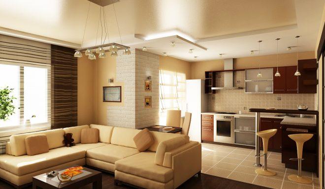 Кухня гостиная бежевого цвета