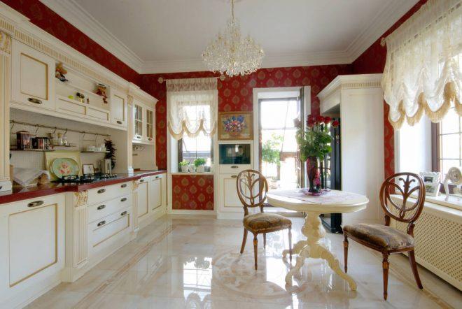Напольное покрытие в классической кухне