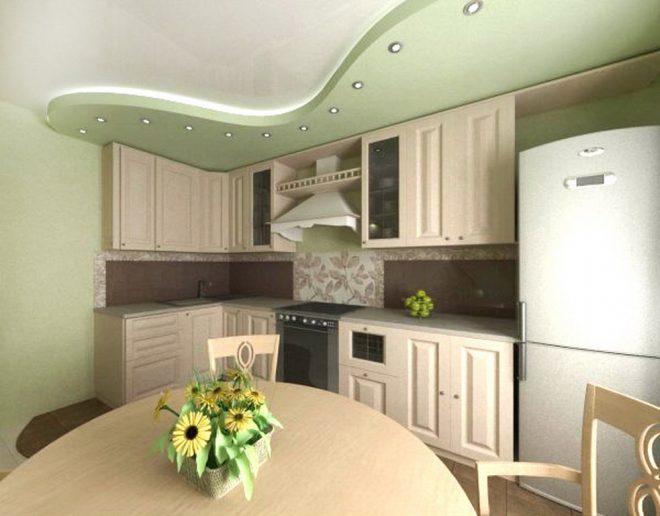 Многоуровневый потолок на кухне