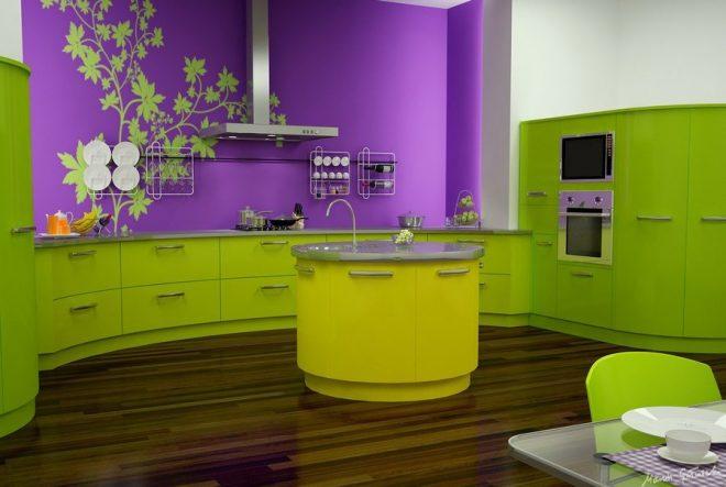 Лимонная кухня с мягким лиловым цветом