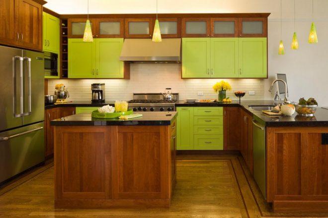 Кухня цвет лайма в классическом стиле