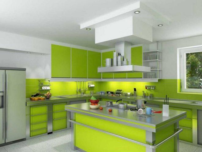 Кухня лимонного цвета в стиле хай-тек