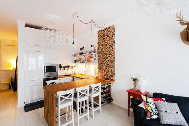 Скандинавский стиль в кухне гостиной
