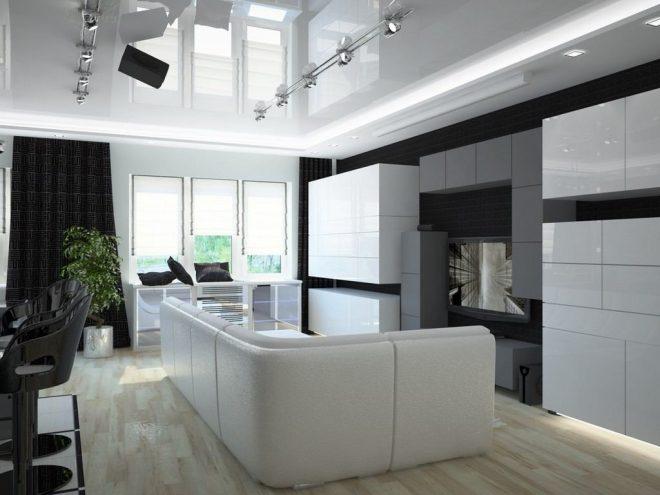 Хай-тек стиль в кухне гостиной