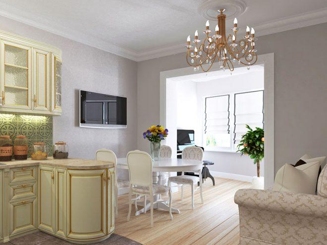 Классический стиль в кухне гостиной