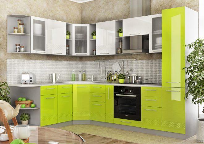Зеленая модульная кухня
