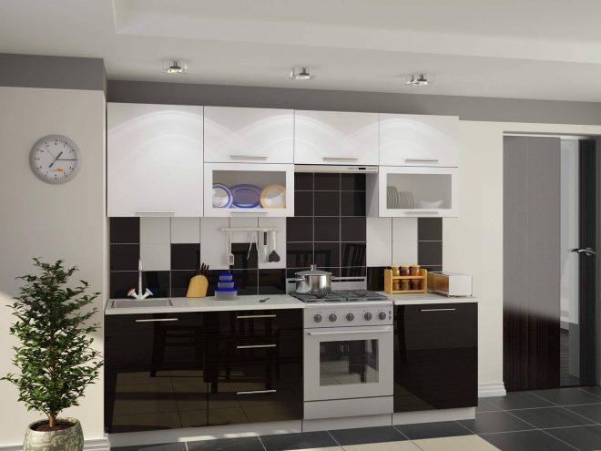 Черная кухня с навесными и напольными шкафами