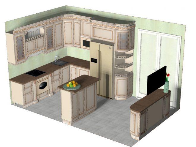 3D проект кухни
