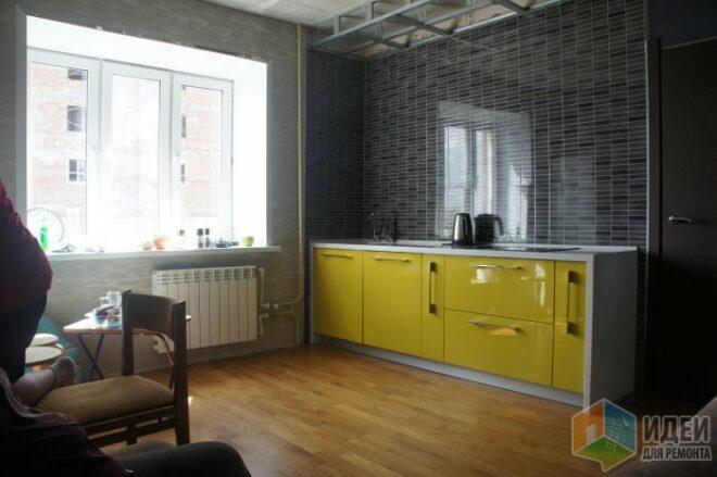 Дизайн кухни-гостиной 16 кв.м оливкового цвета