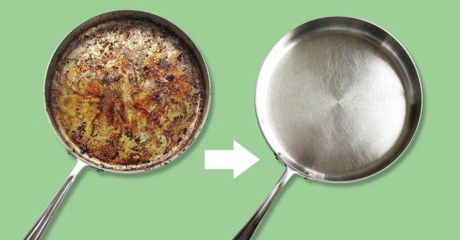 Очистка алюминиевой сковороды