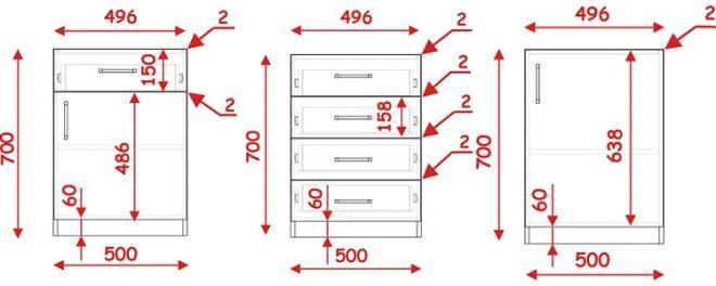 Размеры задвижных фасадов